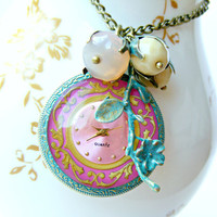 Pink Watch Necklace, Vintage Jewelry, Antique Style Pocket Watch Necklace, Antique Jewelry, Vintage Pink Necklace,
