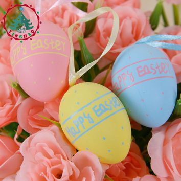 inhoo 12pcs Plastic Easter Eggs Colorful Easter Simulation Eggs Hanging Crafts Decor Ornaments Party Decorating Kids Toys Gifts