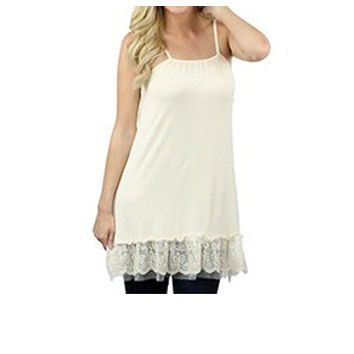 Nude Cami Lace Shirt/Skirt Extender with Adjustable Straps