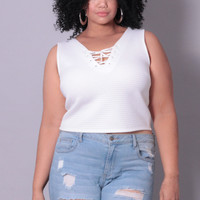 Plus Size Lace-Up Ribbed Crop Top - Ivory