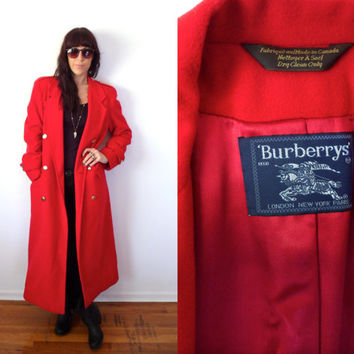 Burberry's Vintage 80's 90's Long Red Coat Gold Buttons Size 4R