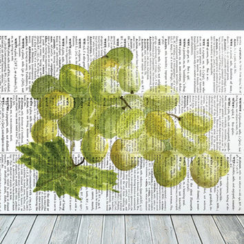 Kitchen print Grapes poster Berries print Dictionary art RTA1956