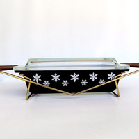 Rare Pyrex Charcoal Snowflake Space Saver with Glass Lid with Promotional Cradle 1956 - Black and White Mid Century Casserole