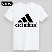 ADIDAS & NIKE United Tide Brand Fashion Fluorescent Short Sleeve ADIDAS