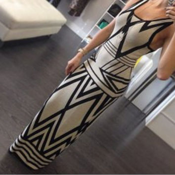 White Geometric Print Sleeveless Maxi Dress