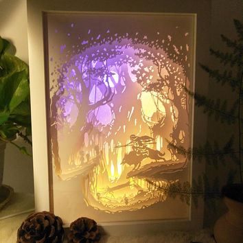 Princess Mononoke inspired paper cut light box, 3d dream box,shadow box, papercut lightbox, night light, gift idea, room art decor