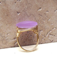 Purple Sea Glass Ring:  Brass Wire Wrapped Beach Jewelry, Color Changing Lavender Gray, Size 7