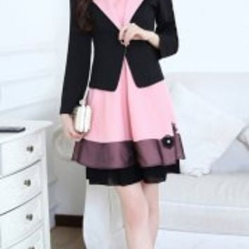 Stereo Flower Embellished Elegant Scoop Collar Sleeveless Dress and Lapel Long Sleeve Blazer Women's Twinset