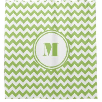 Monogram Lime Green And White Chevron Pattern Shower Curtain