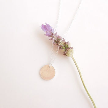 Silver Disc Necklace - Circle Jewelry