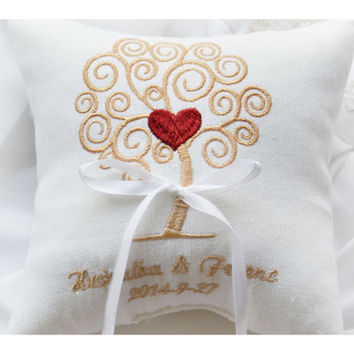 Tree wedding pillow with heart , wedding ring pillow, embroidery pillow, Personalized Custom embroidered ring bearer pillow (R55)