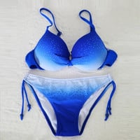 Sexy Strappy Solid Slim Push Up Underwire Low Waist Bikini Set