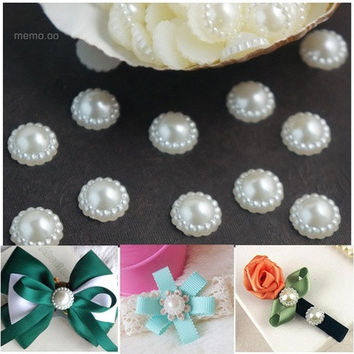 12mm 100Pcs White Ivory Faux Pearl Flower Beads Cellphone Wedding Embellishment [7982889159]