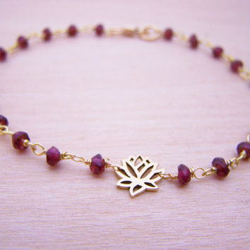 Garnet Gemstone Bracelet - Lotus Bracelet - Gold Fill Bracelet - Wire Wrapped Bracelet - Dainty Gemstone Bracelet - Red and Gold Bracelet