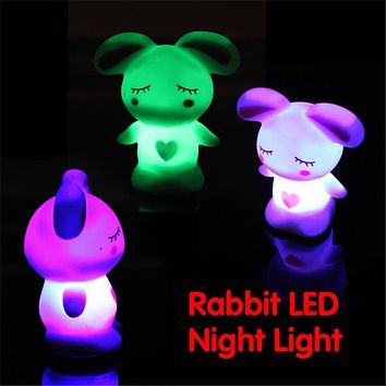 Novelty Lamp Changing Colors Night Romantic Cute Rabbit Light-Up Toys Kid Gift