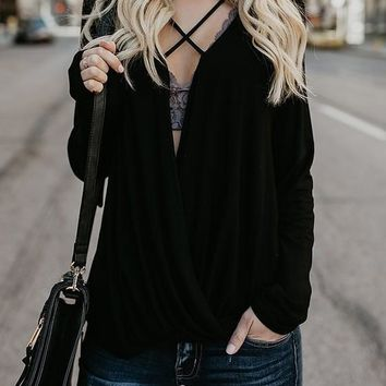 Black Cut Out Long Sleeve V-neck Going out T-Shirt