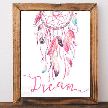Dreamcatcher print, dreamcatcher art, dream catcher print, wall art, printable art, instant download, tribal print, dreamcatcher poster