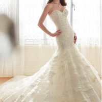 [365.99] Gorgeous Organza Sweetheart Neckline Wedding Dresses with Beaded Lace Appliques - Dressilyme.com