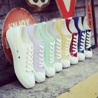 2017 New white canvas shoes female spring and summer white shoes women casual shoes students sneakers