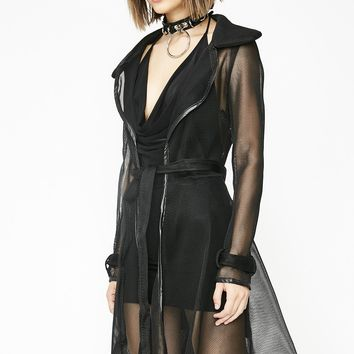 Dark Winning Streak Mesh Trench Coat