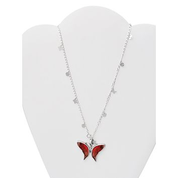 Briana Butterfly Necklace 925 Sterling Silver, Real Butterfly Wings Charm