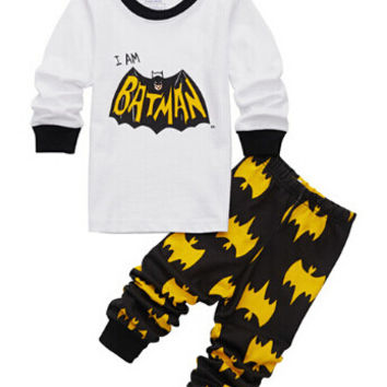 2016 new Batman Superman Kids Clothes Baby Boys Long Sleeve Cotton Pajamas Childrens Sleepwear Pijamas Sets