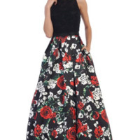 Lace Bodice with Floral Skirt Dress- Black/Print