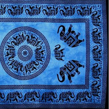 Handmade 100% Cotton Mandala Elephant Tapestry Tablecloth Coverlet 60x90 Blue
