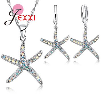 925 Sterling Silver African AAA Crystal Starfish Necklace Earrings for Women Girl Best Gifts Cute Jewelry Sets Bijoux