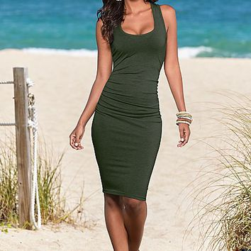 Casual Ruched tank dress