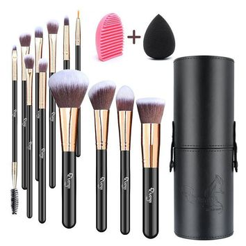 DCCKV2S Qivange Makeup Brushes, Professional Foundation Powder Contour Lip Eyeshadow Blending Brushes Set with Brush Holder+ Makeup Sponge & Brush Cleaner(Black with Rose Gold, 12pcs)