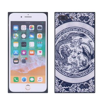 China Style Square Glass Phone Case Blue and White Porcelain Phone Shell for iPhone