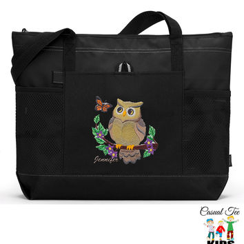 Personalized Tote Bag Owl, Boating, Beach, Nautical, Cruise, Zippered, Mesh Pockets, Embroidered Tote