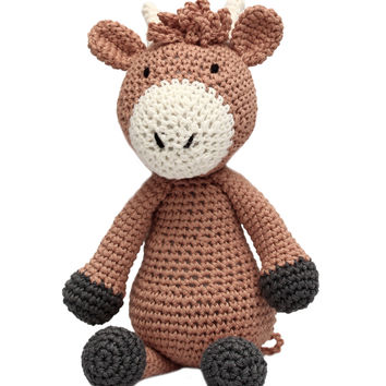 Brown Cow Handmade Amigurumi Stuffed Toy Knit Crochet Doll VAC