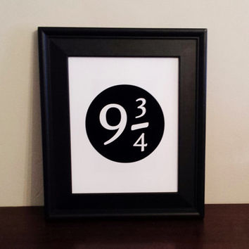9 3/4 Art Print. Nine And Three Quarters Minimalist Art. Fandom Print.