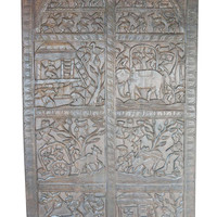 Vintage Wall Hanging Tribal Schedule Carved ancient Shabby Chic Farm  Decor