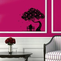Wall Vinyl Decal Sticker Art Design Boy Girl Couple in Love Date Tree with Hearts Room Nice Picture Decor Hall Wall Chu585