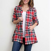 Plaid Flannel Button Down Tunic in Red by Simply Noelle