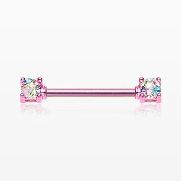 A Pair of Colorline Motley Multi-Gem Sprinkle Sparkle Prong Set Nipple Barbell