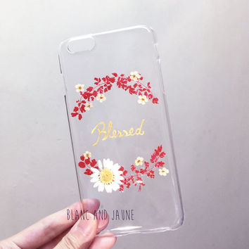Blessed, Meaningful quote phone case, Daisy phone case, Pressed flower phone case, Personalized phone case, Birthday phone case, Any word