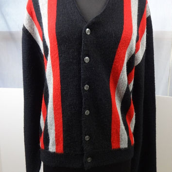 1960s Mens Cardigan Rockabilly Black  w Red Grey Stripes Mod Made by Manhattan Girlfriend Hipster Sweater SZ Medium Acrylic Made in the USA