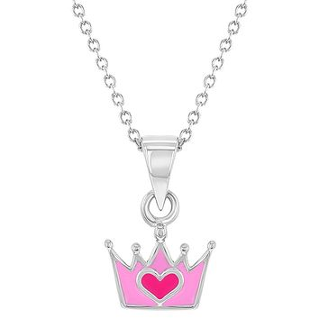 925 Sterling Silver Princess Crown Necklace Pendant Girls Heart Pink Enamel 16""