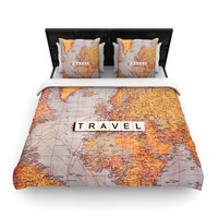 "Sylvia Cook ""Travel Map"" World Woven Duvet Cover"