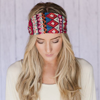PINK and RED Aztec Headband Wide Aztec Inspired Headband Cotton Wide Head Wrap