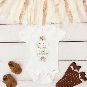 Boho Elephant Onesuit®, cute Onesuit, baby girl Onesuit, nursery Onesuit, coming home baby outfit, coming home baby Onesuit, boho baby clothes