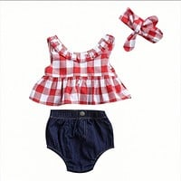3PCS Toddler Kids Clothes 2017 Summer Red Plaid Skirted T-shirt Tops+Denim Shorts Bloomers Headband Outfit Children Clothing Set