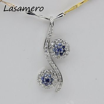 LASAMERO Halo 0.09CT 18k White Gold Natural Diamond Round Cut Floral Hollow Filigree Pave Set Pendant Necklace