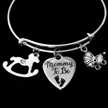 Mommy to Be Jewelry Adjustable Bracelet Expandable Charm Wire Bangle New Mom Gift Shower Rocking Horse Baby Carriage One Size Fits All