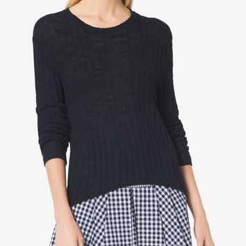 Ribbed Cotton-Blend Sweater | Michael Kors