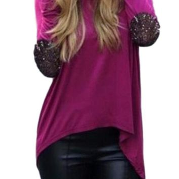 Women's Purple Long Sleeve T-Shirt Blouse with Sequin Elbow Patch Detail